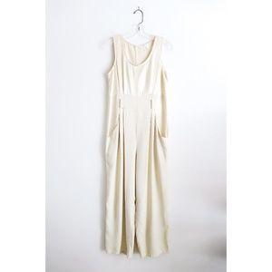 Vintage Cream Sleeveless Jumpsuit Romper fit S/M
